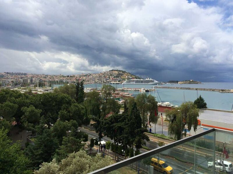 kusadasi harbour view from room of doubletree by hilton hotel