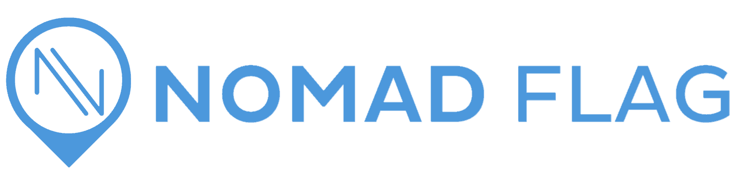 nomad flag header logo with icon travel blog