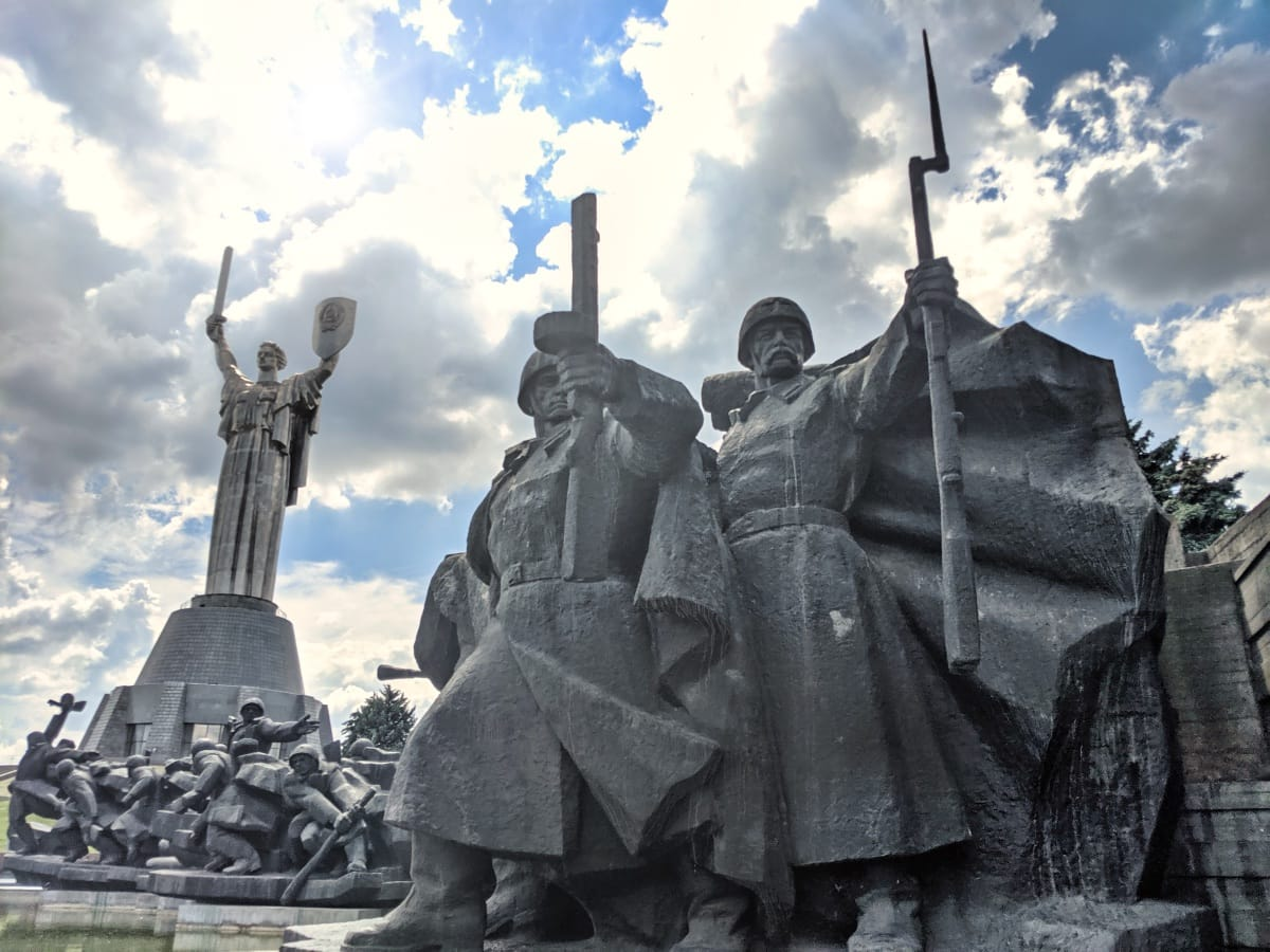 Soldiers Outside The Ukrainian State Museum Of The Great Patriotic War