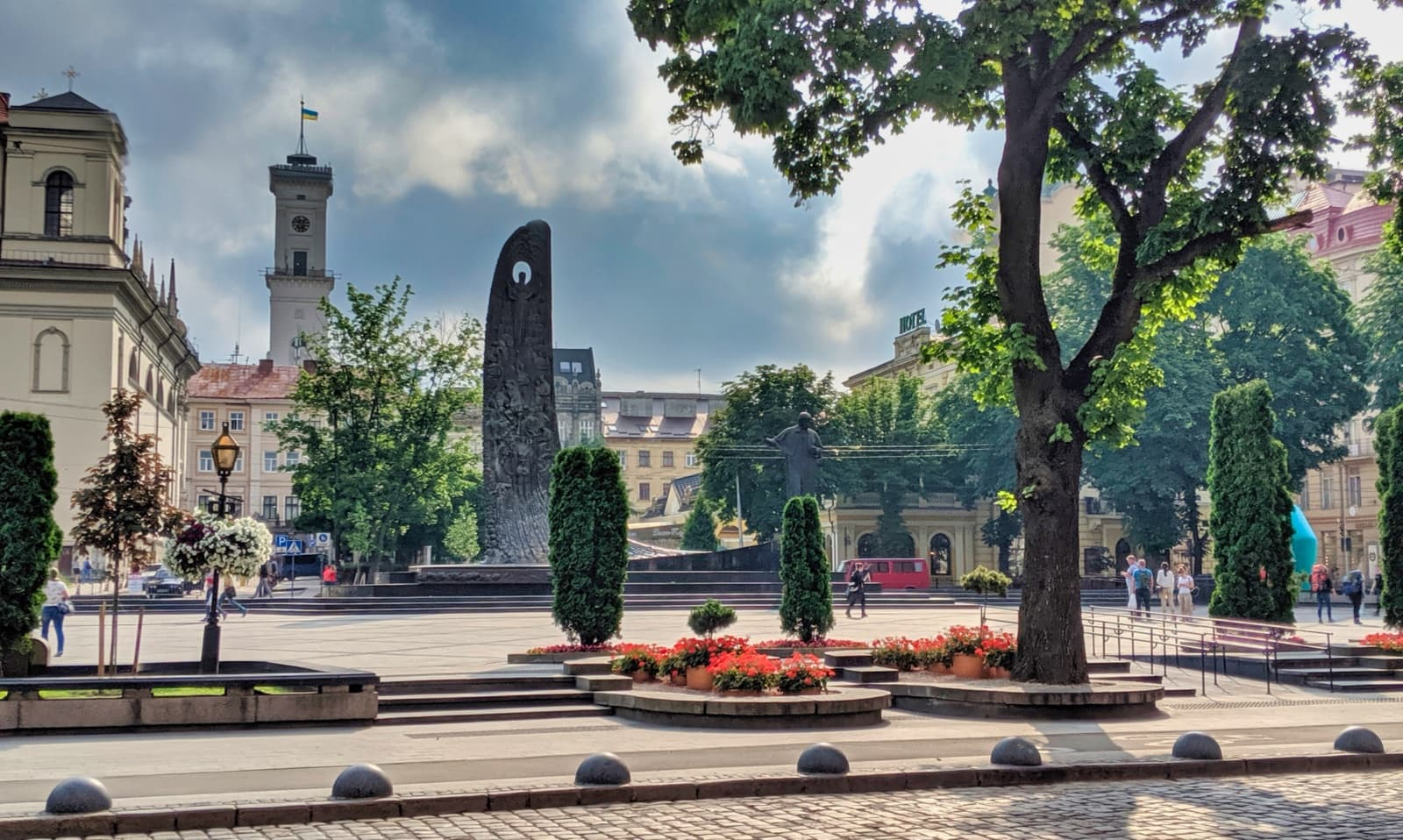 Statue Of Taras Shevchenko In Central Lviv