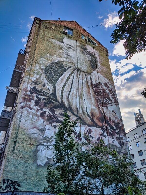 Kyiv Street Mural Woman Ukrainian Traditional Dress