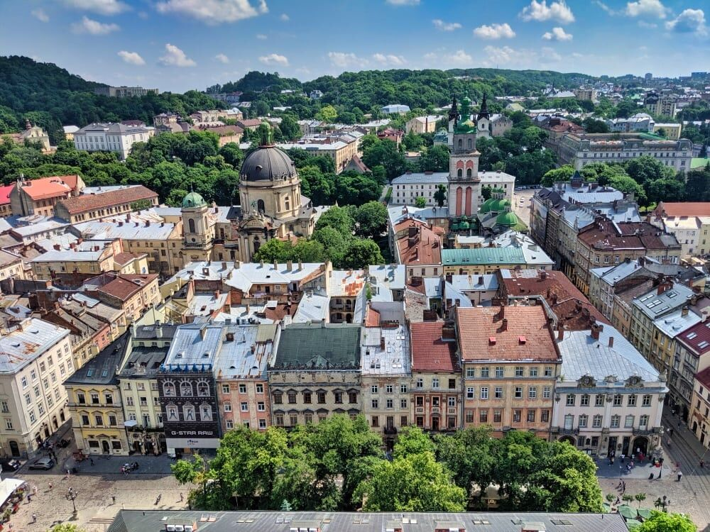 Lviv Rooftops From Town Hall Tower