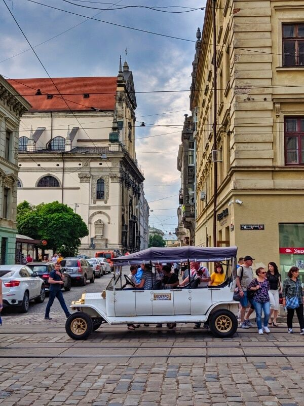 Tourist Cars In Central Lviv